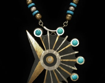 "Toño Piedra Negra Pendant & Necklace Sterling, Turquoise, Brass 23"" Long Circa 1950s"