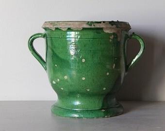 French Antique Handmade Glazed Pottery Urn with a Green Glaze