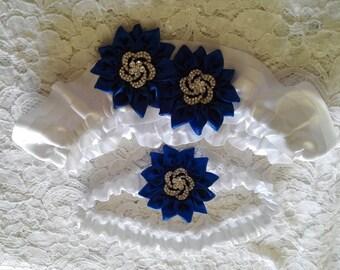 Royal Blue Garter Set, Royal Blue Bridal Garter Set, Royal Blue Daisies on White Satin with Rhinestone Swirl Centers Bridal Garter Set