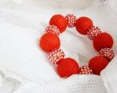 FINAL SALE Hand felted bracelet in orange. Glitter balls, sparkle elements. Felt fashion. Geometrical, Balls