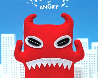SALE 60% Off - Pattern and Instruction Booklet - PUPUMON Angry