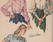 RESERVED-Bust 36-1940's Misses' Blouse Simplicity 2382 Size 18