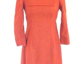 Woolen Tweed Tie Back Vintage 1960s Dress Sz XS 0