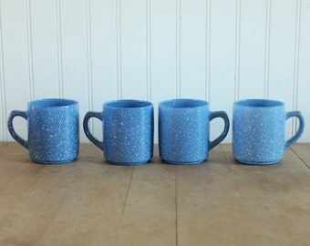 Vintage 1970's Libbey Blue Speckled Milk Glass Mugs 4