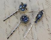 Bridal Hair Clips- Set of Three- Pale blue Rhinestone and Silvertone- Something Blue