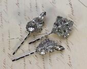 Bridal Hair Clips- Set of Three- Clear Rhinestone and Silvertone- Bobby Pins