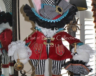 "Pre-Order 2018 Delivery-""Mad Hatter Rabbit Centerpiece Stand"" Petals & Plumes Original- LIMITED Qty  of 4 Pre-Orders!!!"