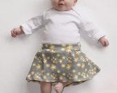 Baby Girl Flower Skirt- Organic Cotton - Baby Knit Skirt Yellow Flowers on Gray Foldover Waist 0 3 6 9 12 months yoga skirt organic clothing