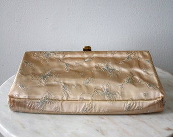Clutch Formal Peach Silver Floral Brass Pink Prom Purse Bag - 1960s VINTAGE