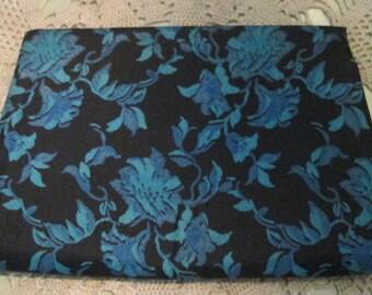 Vintage Satin Clutch / Turquoise Black Purse / 1960s Harry Levine Envelope Purse