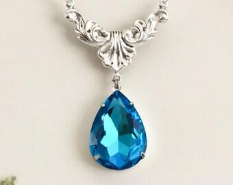 Aquamarine Blue Necklace - Aqua Blue Crystal Rhinestone Necklace - March Birthstone - Wedding Jewelry - Prom - Something Blue - Gift Idea