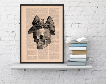 Summer Sale Skull Book Print Vintage  Print Skull of a woman with a hat  Collage book print art SKA009