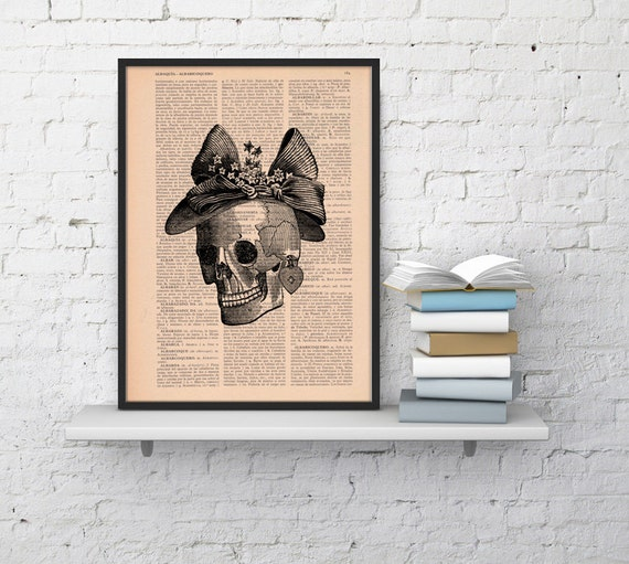 Skull Book Print Vintage  Print Skull of a woman with a hat  Collage book print art BPSK09