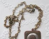 vintage Marjorie Baer necklace, nickel brass and copper modernistic design