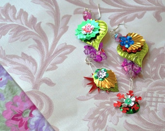 Statement Earrings Dangle Flower Assemblage Charms