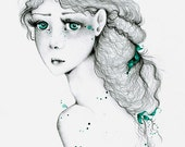 Fine Art Giclee Print of My Original Artwork Large Art Drawing  of a Girl A Kindred Spirit is a Fragile One