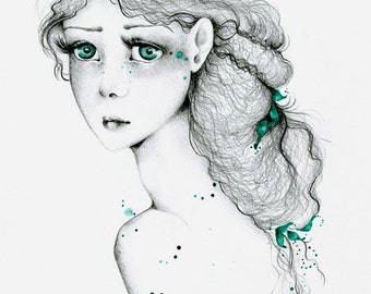 Fine Art Giclee Print of My Original Artwork Art Print Drawing  of a Girl A Kindred Spirit is a Fragile One Green Eyes Green Decor Teal Blue