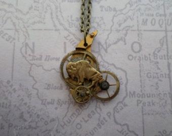 Steampunk Neo Victorian Buffulo Antique Watch Piece Charm Necklace II