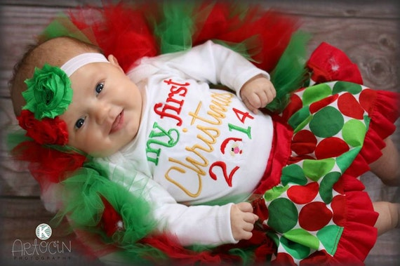 Items similar to 2015 My First Christmas Outfit Baby's 1st Christmas 2015  Bodysuit Santa Face in the 2014 Baby Girl Clothes Photo Prop New Baby Gift  on Etsy - Items Similar To 2015 My First Christmas Outfit Baby's 1st