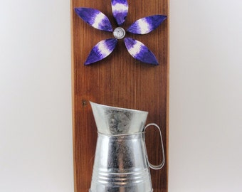 wood wall hanging, upcycled, miniature metal pitcher, wood flower, purple