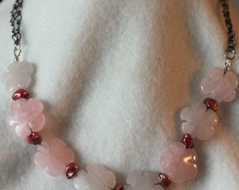 Floral Rose Quartz Freshwater Pearl Necklace