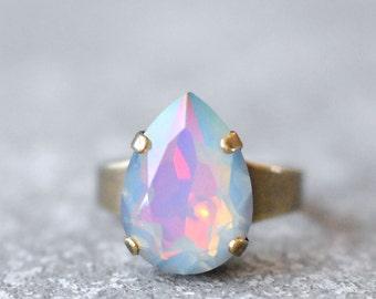 White Opal Rainbow Cocktail Ring Swarovski Crystal Pastel Rainbow Pear Adjustable Large Cocktail Ring Gold Silver Brass Mashugana