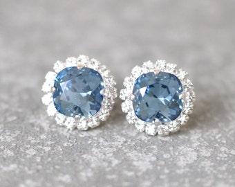 Denim Blue Earrings Rhinestone Swarovski Crystal Studs Light Navy Blue Rhinestone Pendant Necklace Mashugana
