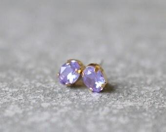Lavender Lilac Earrings Swarovski Crystal 8mm Oval Petite Studs Super Sparklers Small RARE Vintage Pastel Purple Wedding Earrings Mashugana