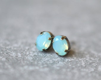 Pacific Blue Opal Earrings Swarovski Crystal 8mm Oval Petite Studs Super Sparklers Small RARE Earrings Mashugana