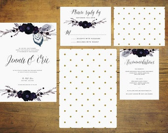 Peacock Wedding Invitation Suite (Set of 25) | Wedding Invitations, Feather Invitation, Navy, Gold, Blue, Gold, Nature