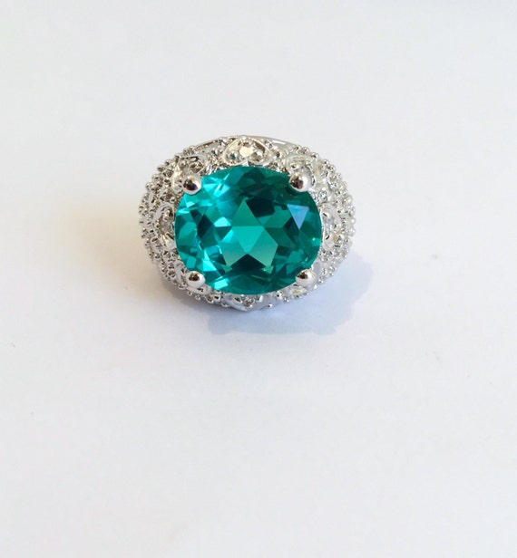 Vintage Sterling Silver Blue Tourmaline Paraiba Estate Ring