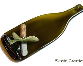 WINE Bottle Cheese Tray,  Spoon Rest, Melted Wine Bottle, House Warming Hostess Gift,  Dessin Creations