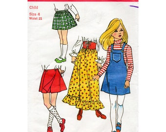 70s Girl's Skirt, Pantskirt and Jumper Dress Pattern Simplicity 9479 Child's Vintage Sewing Pattern Maxi or Mini Skirt Size 4 FF Unused