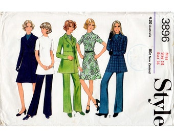1970s Coat, Dress, Tunic and Trousers Pattern Style 3896 Vintage Sewing Pattern Short or Long Winter Coat and A Line Dress Bust 36 FF Unused