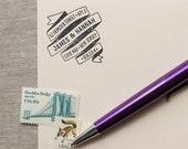 Self Inking Return Address Stamp RIBBON BANNER Interchangeable design - romantic address stamp
