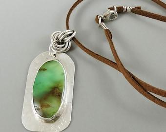 Sterling Silver Chrysoprase Necklace, Chrysoprase Gemstone Necklace, Microfiber Cord, Gemstone Jewelry