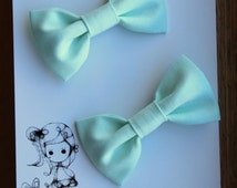 """Belle's Bows .."""" Fabric bows"""" Pretty girls Bows. Soft Mint, Pastel green. Light mint fabric bows.Gorgeous girls hair bows. gift. pastel"""