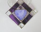 Amethyst, Purple, Heart, Suncatcher, Stained Glass, Decorative, Window Art