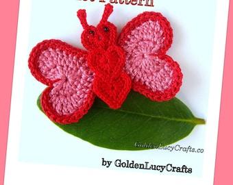 CROCHET PATTERN Butterfly Applique, PDF File, Free pattern offering