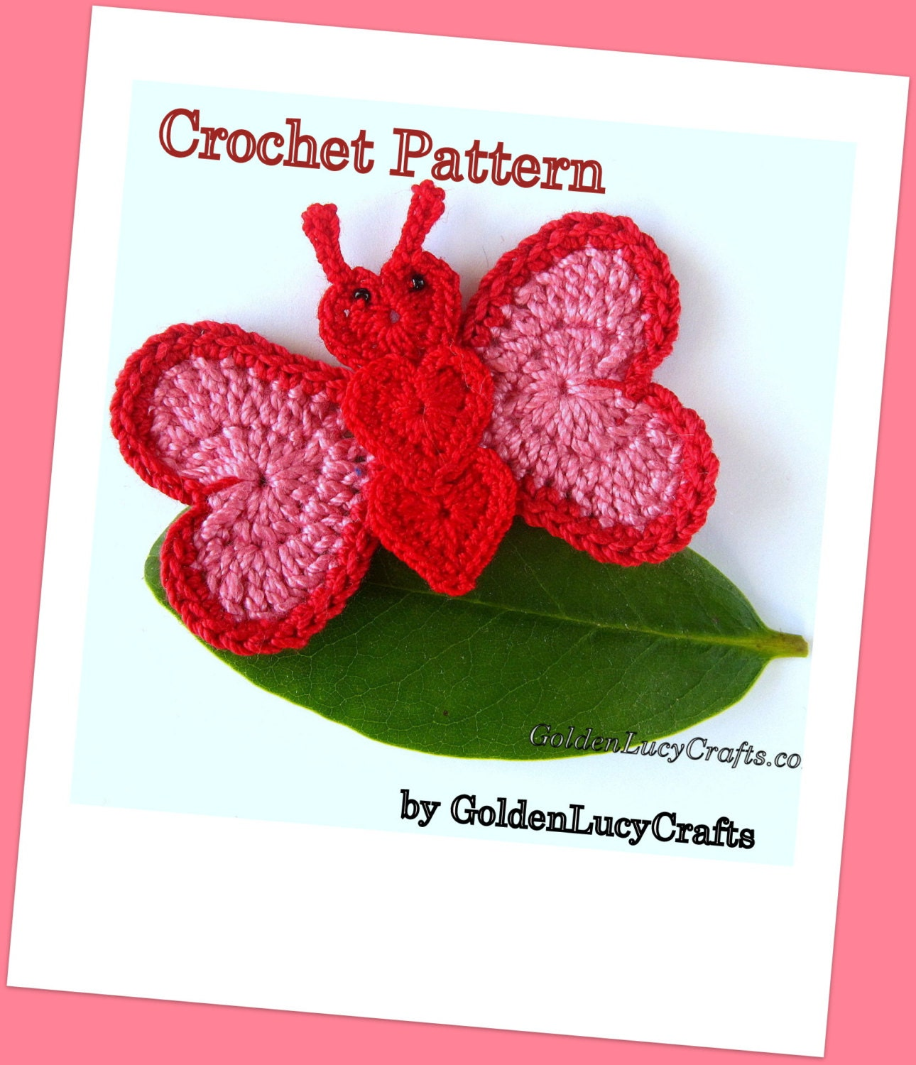 Free Download Crochet Butterfly Pattern : CROCHET PATTERN Butterfly Applique PDF File Free pattern
