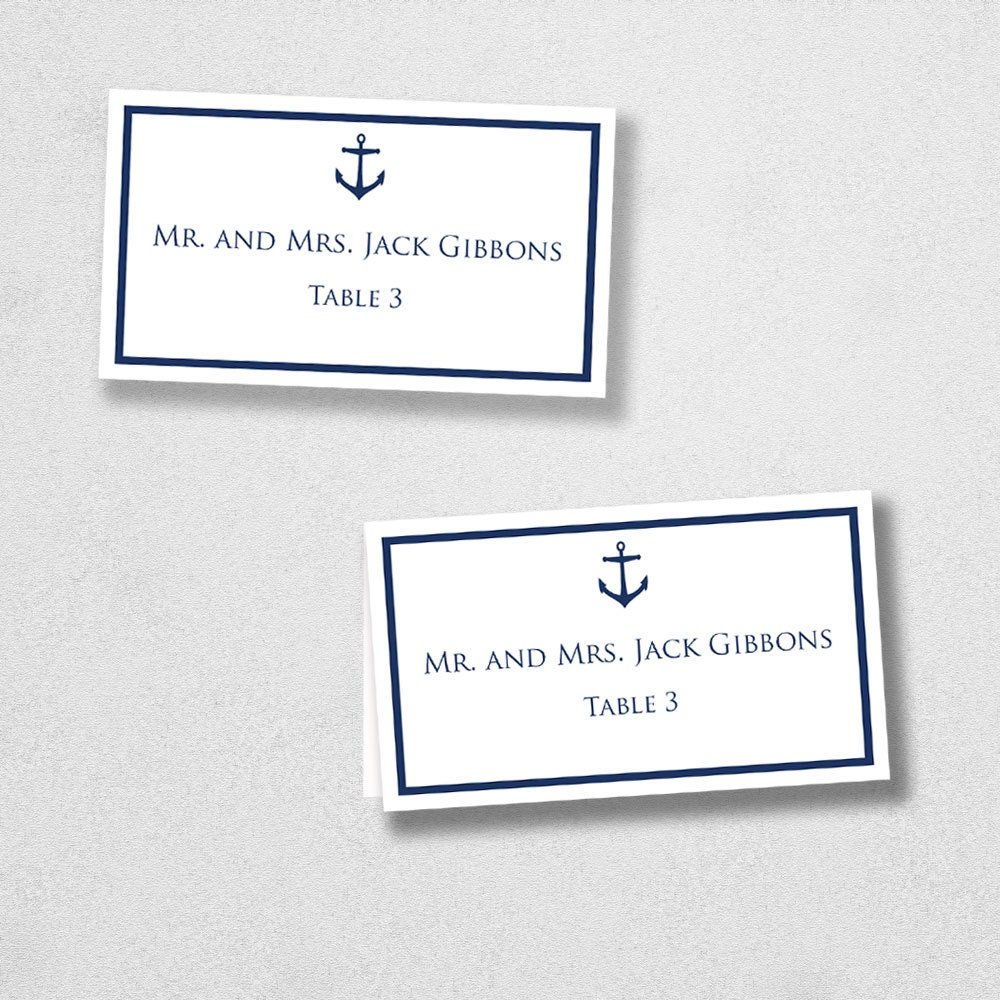 Avery Place Card Template Anchor INSTANT DOWNLOAD Escort