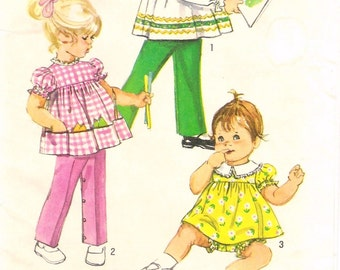 Vintage 1970s Toddler Girls Dress Pattern Simplicity 9090 (Toddler size 1/2)
