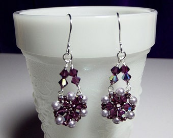 Purple Crystal and Pearl Chandelier Drop Earrings, Christmas Gift, Mom Sister Grandmother Girlfriend Bridesmaid Jewelry Gift, Classy