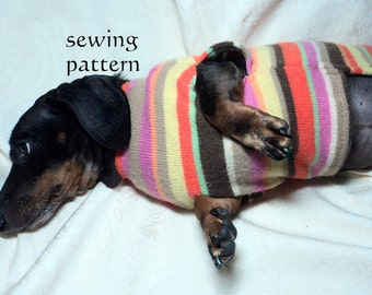 DIY Pattern to sew Dachshund Sweaters, Snoods and matching cuffs for Mom handmade pets clothing