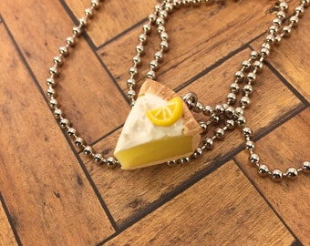 Little Lemon Meringue Pie Slice Necklace - Polymer Clay - Art by Sarah Price