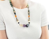 "Fabric Wrapped Stone Bead Pendant Necklace, Raw Amethyst, Lemon Quartz, Smokey Quartz - ""Anya"""