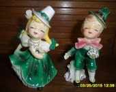 Pair Vintage Norcrest Irish Clogging Dancing Kissing Figurines Boy Girl, Vintage Japan, numbered F342