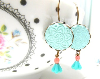 Mint Blue Drop Earrings, mint and coral Earrings, Wedding Bridal Jewelry, Bridesmaid Gift
