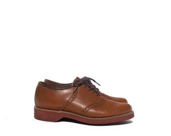 7 M   Men DEXTER Tan Brogue Saddle Shoes Made in USA