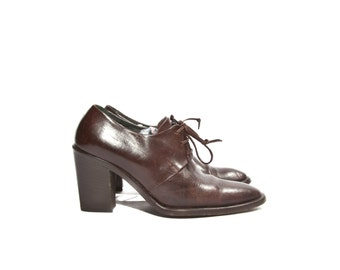 7.5 M | Joan & David Espresso Brown Leather High Heel Oxford Ankle Booties